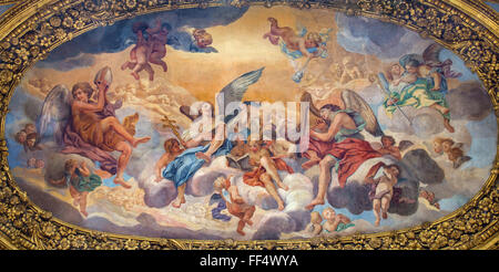 ROME, ITALY - MARCH 25, 2015: The symbolic painting The Glory of the Angels by Luigi Garzi (17. cent.) in baroque - Stock Photo