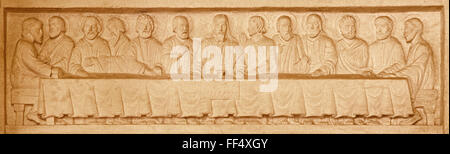 JERUSALEM, ISRAEL - MARCH 3, 2015: The Last supper stone relief in Evangelical Lutheran Church of Ascension by unknown - Stock Photo
