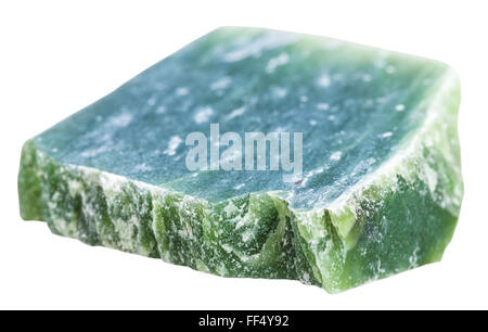 macro shooting of natural mineral stone - green nephrite gemstone isolated on white background - Stock Photo