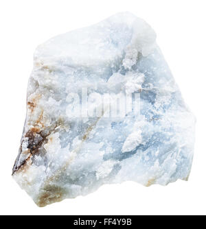 macro shooting of natural mineral stone - blue Anhydrite (Angelite) rock isolated on white background - Stock Photo