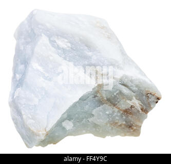 macro shooting of natural mineral stone - blue Anhydrite (Angelite) gem stone isolated on white background - Stock Photo
