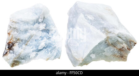 macro shooting of natural mineral stone - two pieces blue Anhydrite (Angelite) rock isolated on white background - Stock Photo