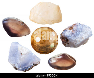 set of natural mineral stones - specimens of chalcedony tumbled gemstones and crystals isolated on white background - Stock Photo