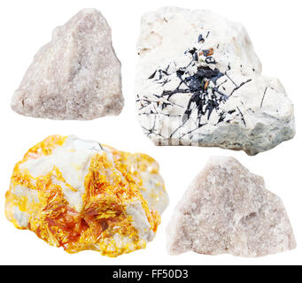 set of natural mineral stones - specimens of Dolomite (dolostone) rocks isolated on white background - Stock Photo