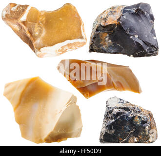 macro shooting of natural mineral stone - set of flint rock stones isolated on white background - Stock Photo