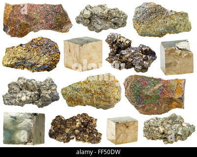 set of natural mineral stones - specimens of pyrite rocks isolated on white background - Stock Photo