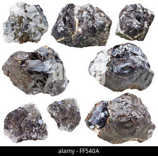 set of natural mineral stones - specimens of sphalerite gemstones and rocks isolated on white background - Stock Photo