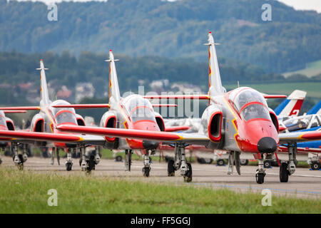 """CASA C-101 Aviojets of """"Patrulla Aguila"""" the formation aerobatic team of the Spanish Air force. - Stock Photo"""