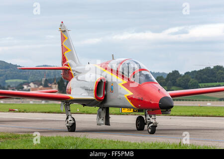 """CASA C-101 Aviojet of """"Patrulla Aguila"""" the formation aerobatic team of the Spanish Air force. - Stock Photo"""