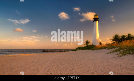 Lighthouse on the Beach at sunset in Key Biscayne, Florida - Stock Photo