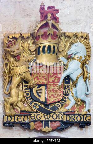 JERUSALEM, ISRAEL - MARCH 5, 2015: The relief of England royal arms in St. George anglicans church from year 1948. - Stock Photo