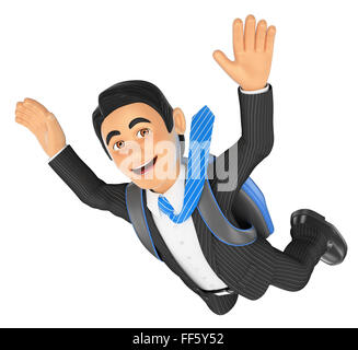 3d business people. Businessman jumping in parachute. Isolated white background. - Stock Photo