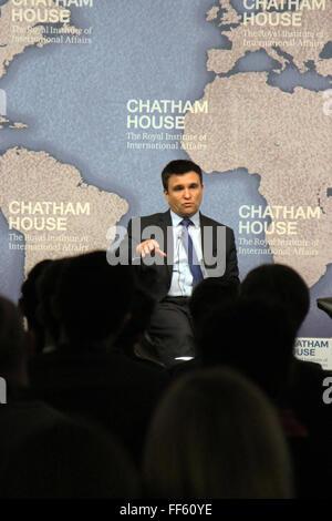 London, UK. 10th February, 2016. Ukrainian foreign minister Pavlo Klimkin speaks at the Chatham House think-tank - Stock Photo