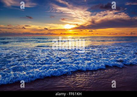 Sunset on Karon Beach. Phuket Island. Thailand. - Stock Photo