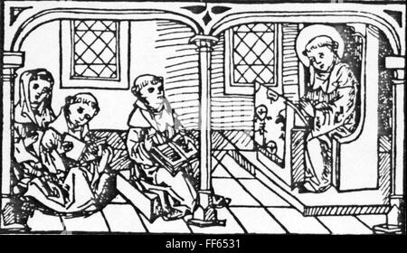 pedagogy, school / lessons / discipline, convent school, woodcut, out of the legend of Saint Meinrad of Einsiedeln, - Stock Photo