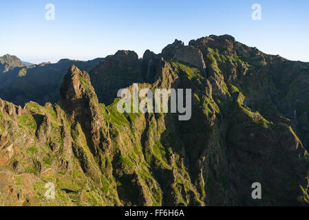 Spectacular hiking trail leading on ledges and tunnels at Mount Pico Torres through the rugged central mountains - Stock Photo