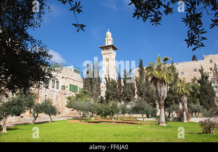 JERUSALEM, ISRAEL - MARCH 5, 2015: The look from the Temple Mount to minaret in the north part. - Stock Photo