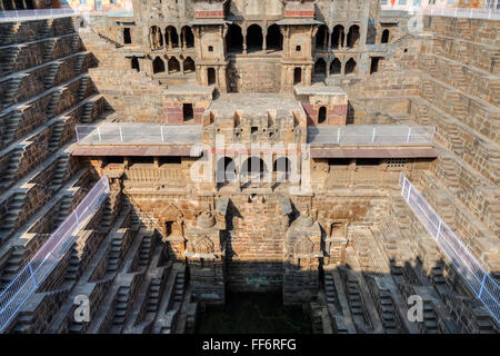 Chand Baori stepwell, Abhaneri, Dausa, Rajasthan, India - Stock Photo