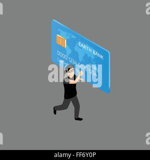 Thief running with credit card - Stock Photo