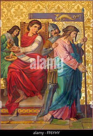 JERUSALEM, ISRAEL - MARCH 4, 2015: The paint Jesus judgment for Pilate from end of 19. cent., by unknown artist. - Stock Photo