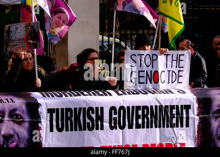 London, UK. 10th February, 2016. Kurds call on the UK government to stop supporting the Turkish government who they - Stock Photo