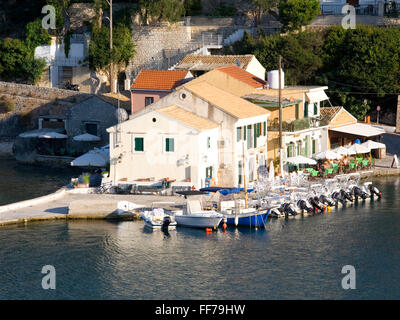 Loggos, Paxos, Ionian Islands, Greece. View over the harbour from hillside. - Stock Photo