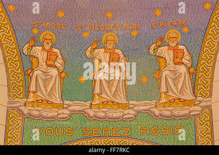 JERUSALEM, ISRAEL - MARCH 3, 2015: The mosaic of apostles in Church of St. Peter in Gallicantu. - Stock Photo