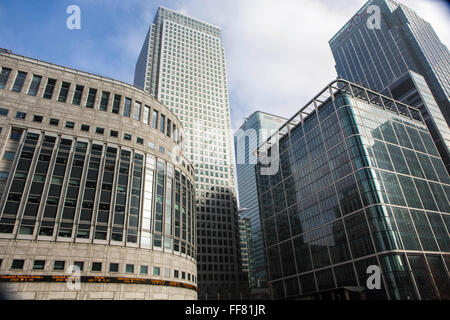 Street view from  of the iconic office buildings in the financial district of Canary Wharf, London, England, United - Stock Photo
