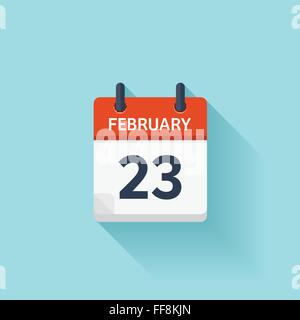 February 23. Vector flat daily calendar icon. Date and time, day, month. Holiday. - Stock Photo
