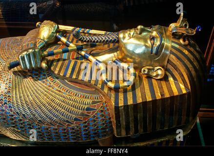Sarcophagus of Tutankhamun, 14th century BC, Museum of Egyptian Antiquities, Cairo, Egypt, Africa - Stock Photo