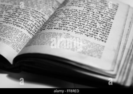 nice old jewish book from 19th centrury from Prague - Stock Photo