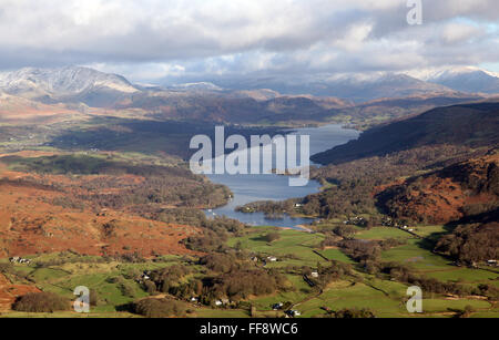 aerial view of Coniston Water and High Nibthwaite in the Lake District, Cumbria, UK - Stock Photo