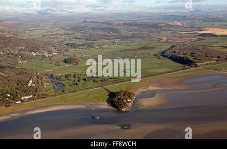 aerial view of Holme Island, Cliff House and Grange-over-Sands Golf Course in south Cumbria, UK - Stock Photo