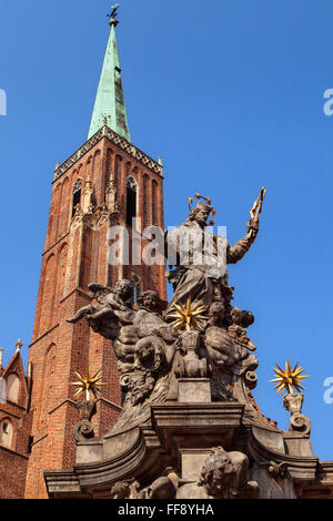 John of Nepomuk monument in front of the Holy Cross church, Wroclaw, Poland. - Stock Photo