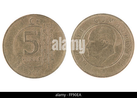 5 turkish kurus coin isolated on white background. - Stock Photo