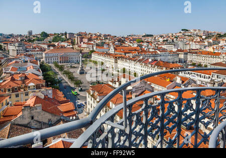Portugal, Lisbon, view of Pedro IV Square from the upper level terrace of Santa Justa Lift - Stock Photo