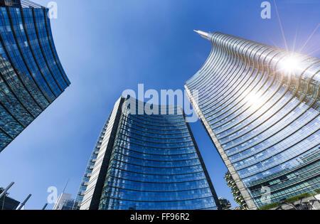 View of the new buildings in the square Gae Aulenti and Corso Como in Porta Nuova area. Milan Italy - Stock Photo