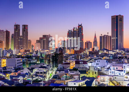 Tokyo, Japan city skyline at the West Shinjuku Financial District. - Stock Photo