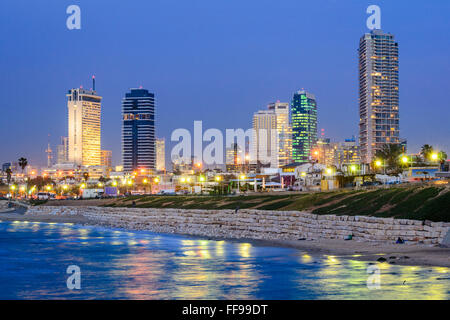 Tel Aviv, Israel skyline on the Mediterranean. - Stock Photo