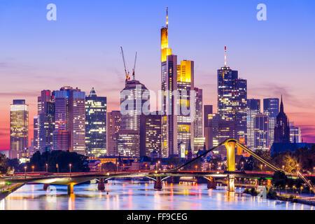 Frankfurt, Germany skyline on the Main River. - Stock Photo