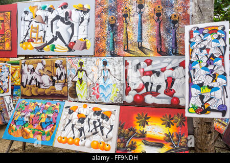 Naive paintings. Las Terrenas. Samana Peninsula. Dominican Republic. West Indies. Caribbean - Stock Photo