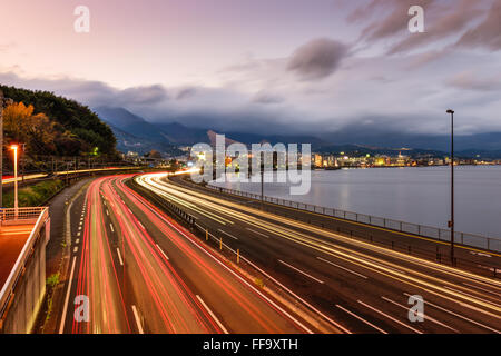 Beppu, Japan overlooking the expressway. - Stock Photo