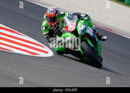 Misano Adriatico, Italy - June 20, 2015: Kawasaki ZX-10R of Team Pedercini, driven by STARING Bryan - Stock Photo