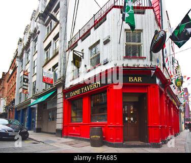 DUBLIN, IRELAND - APRIL 1, 2013: Dame Tavern Irish pub in the Temple Bar District of Dublin Ireland - Stock Photo