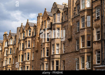 View of Victorian tenement housing in the West End of Edinburgh, Morningside. - Stock Photo
