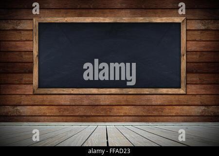 blackboard on wooden wall with floor - Stock Photo