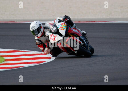 Misano Adriatico, Italy - June 20, 2015: BMW S1000 RR of Team ASPI, driven by MURESAN Robert - Stock Photo