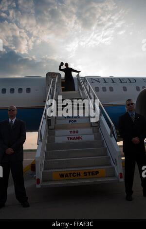 U.S Vice President Joe Biden throws a football from the top of the stairs before boarding Air Force Two at Pittsburgh - Stock Photo