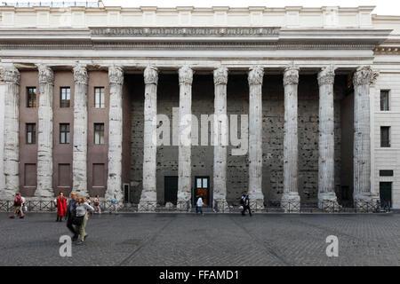 The Temple of Hadrian at Piazza di Pietra in Rome, Italy; Temple di Adriano - Stock Photo