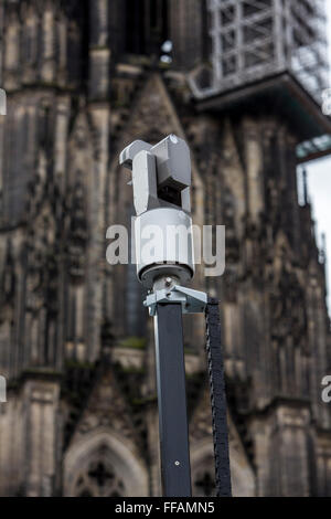 Surveillance video camera during Street carnival parade and party in Cologne, Germany, - Stock Photo